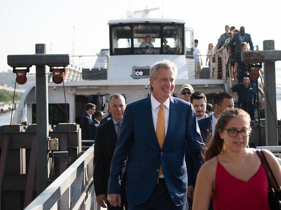 Mayor Bill de Blasio launching the new Lower East Side ferry route