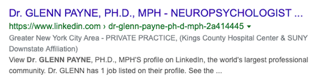 This is a screenshot of the Google hit for Glenn Payne's LinkedIn profile.