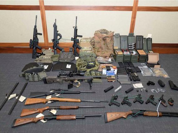White nationalist Christopher Paul Hasson's weapons cache, seized by the FBI.