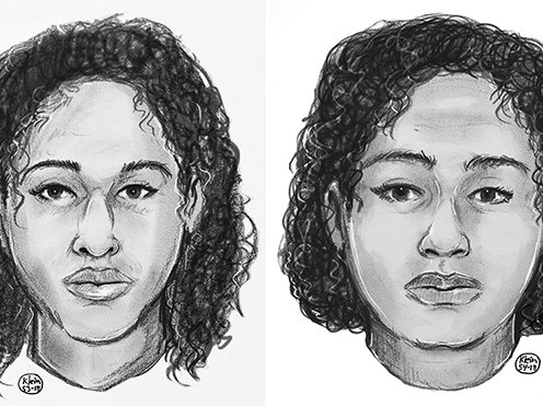 Sketches of the women released by the NYPD.
