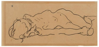 This drawing was likely sketched by Egon Schiele in 1918, shortly before the artist's premature death.