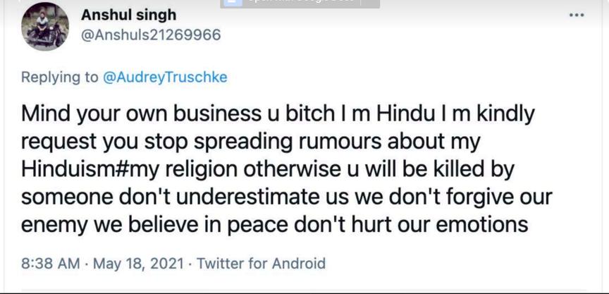A tweet to Audrey Truschke