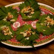 Perilla leaf with toasted shrimp, coconut, tamarind caramel and peanuts(Sam Horine/ Gothamist)