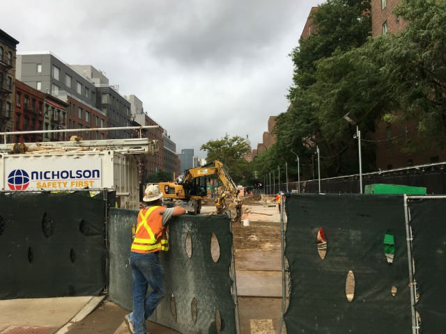 Construction at the northwest corner of Avenue B and 14th Street