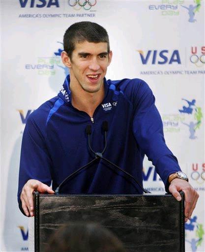 Phelps speak to the press
