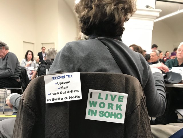 A participant takes part in the second public meeting about the SoHo and NoHo planning process on February 28th.