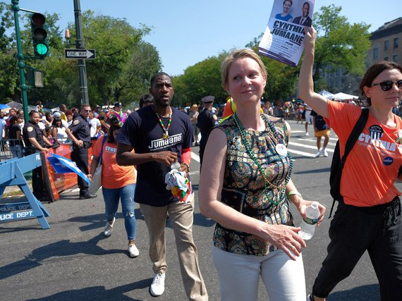 Cynthia Nixon marches in the West Indian Day Parade last week