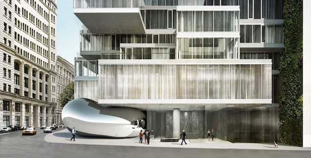 "Rendering of NYC's ""Bean"" on the corner of Church Street and Leonard Street."