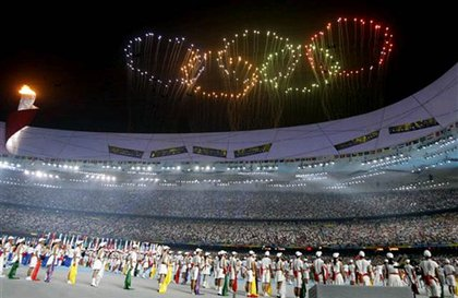 Olympic rings fireworks over the National Stadium during the closing ceremonies of the Beijing Olympics.