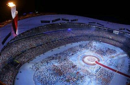 Athletes converge in the stadium
