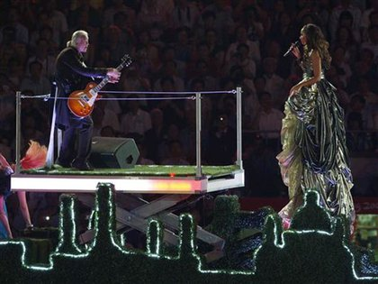 Inside the bus: Led Zeppelin's Jimmy Page and singer Leona Lewis, who sang A Whole Lotta Love.