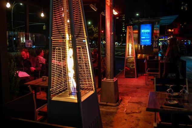 The heaters at Kissaki Sushi on Bowery