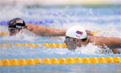 Phelps and Milorad Cavic during the 100m butterfly.