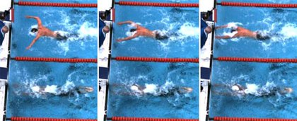Freeze frames of the final seconds of the 100m butterfly.