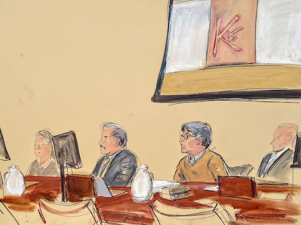 A courtroom sketch of Keith Raniere and the D.O.S. brand.