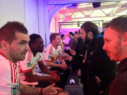 Red Bulls players Jonny Steele, Lloyd Sam, and Dax McCarty answer questions at Media Day.