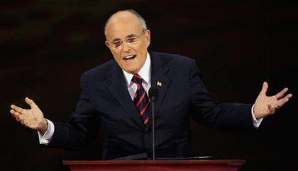 Giuliani works the crowd