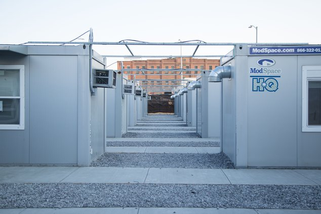 An external view of the vaccination units installed at the Brooklyn Army Terminal on January 12th, 2021.