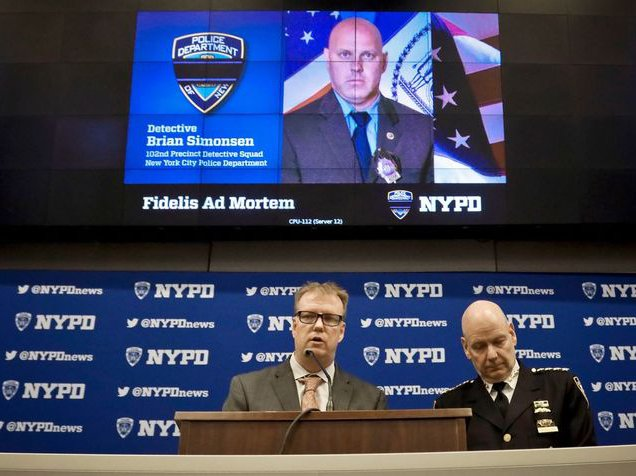 New York Police Department Chief Terence Monahan, right, and Deputy Chief Kevin Maloney, left, hold a press conference, at police headquarters