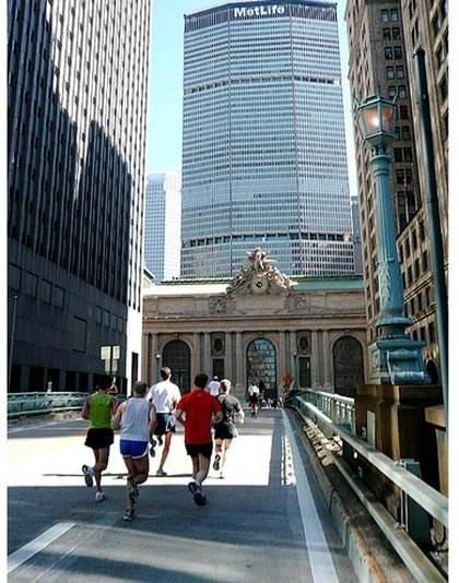 Joggers enjoy Park Avenue