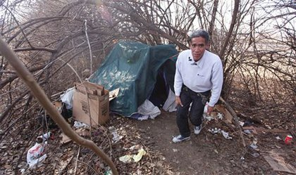 Ted Williams was living in this tent as of a few days ago