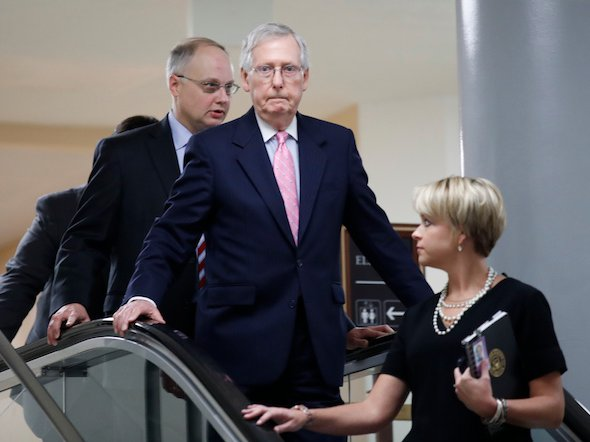 Sen. Majority Leader Mitch McConnell arrives to view the FBI report, have his mind unchanged.
