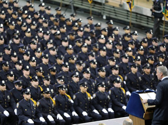 Mayor Bill de Blasio speaking at the NYPD's graduation ceremony at Madison Square Garden