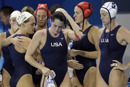 The U.S. women's water polo team, after their loss to the Netherlands for the gold.