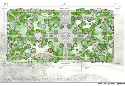 Illustration of renovated Washington Square Park from NYC Parks Dept.