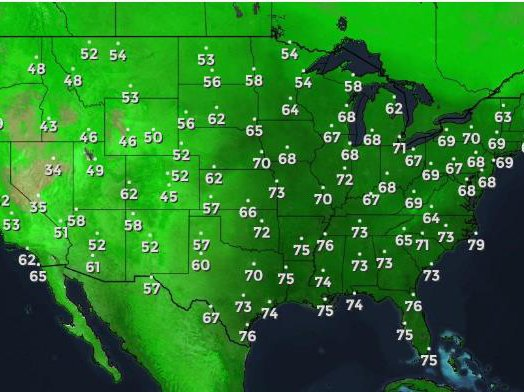 Current dew points across the country from The Weather Channel. Let's move to Salt Lake City.