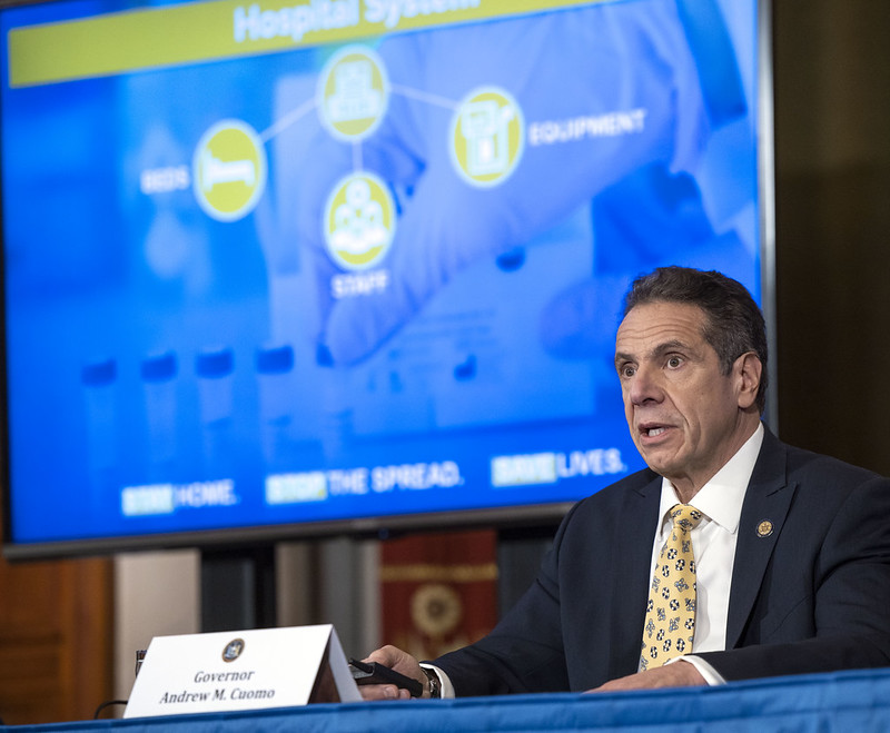 Governor Andrew M. Cuomo provides a coronavirus update during a press conference in the Red Room at the State Capitol on Tuesday.