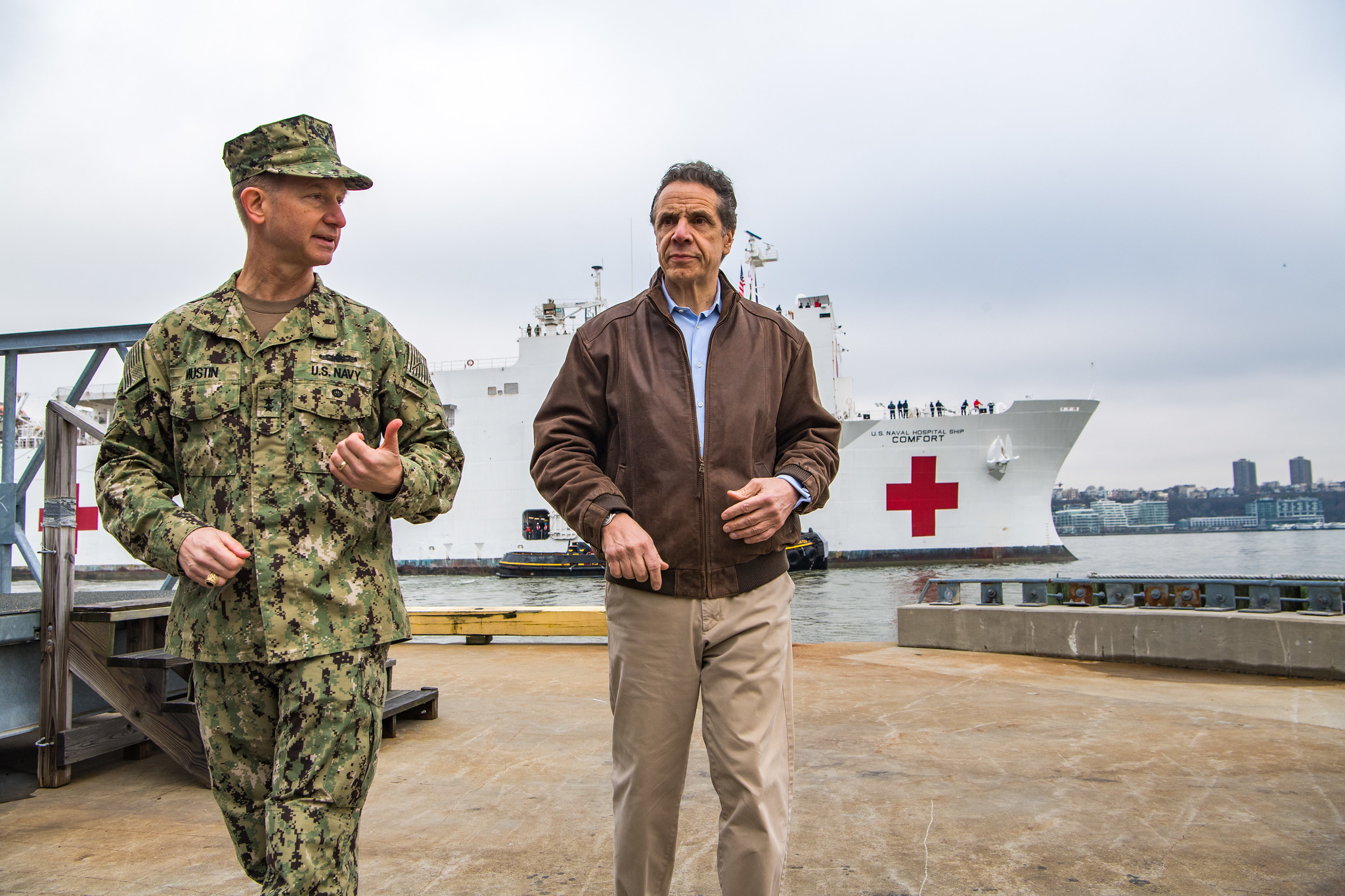 Governor Cuomo greets the arrival of the Navy hospital ship Comfort in New York harbor.