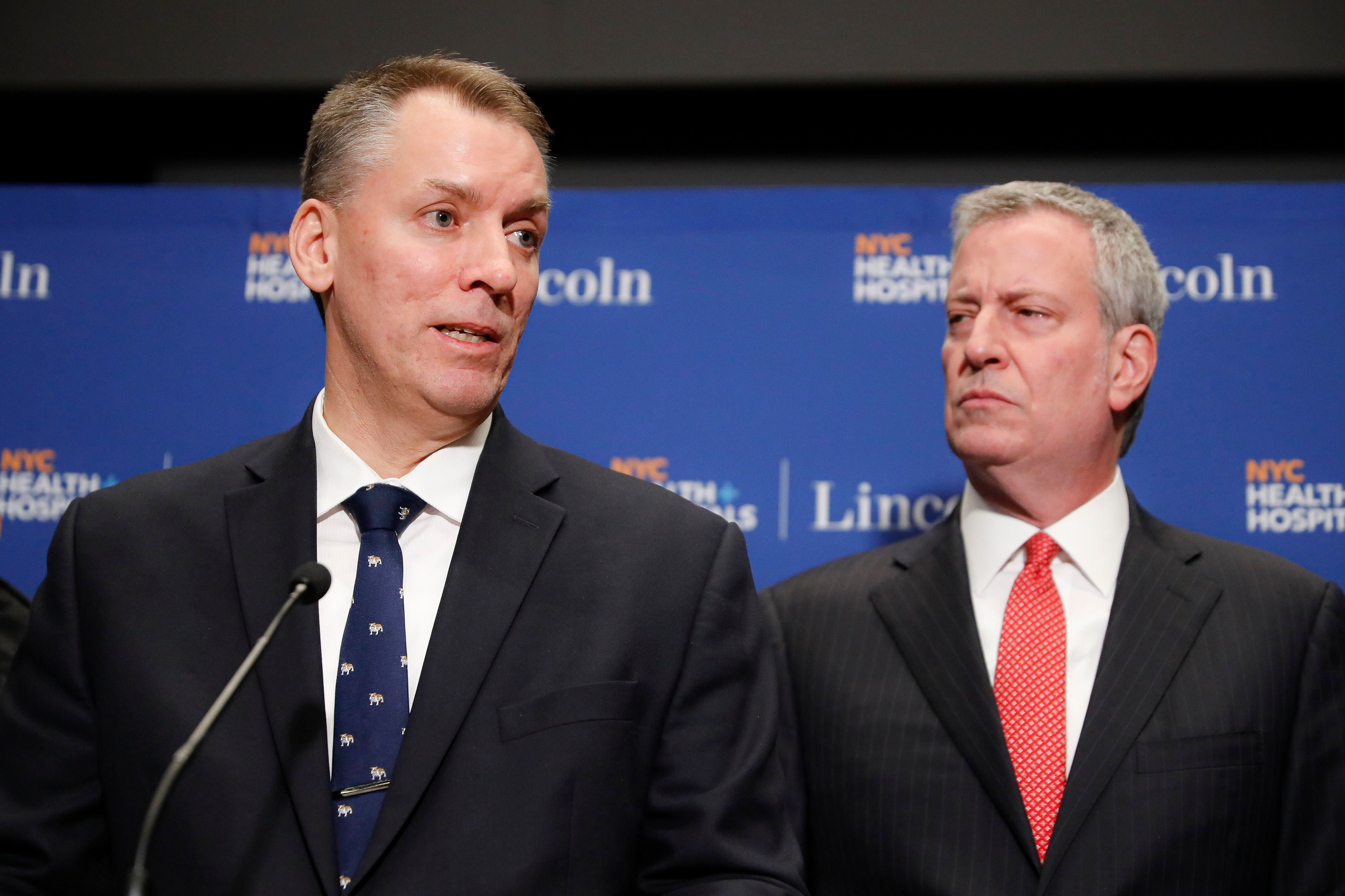 NYPD Commissioner Dermot Shea and Mayor Bill de Blasio at a press conference in February.