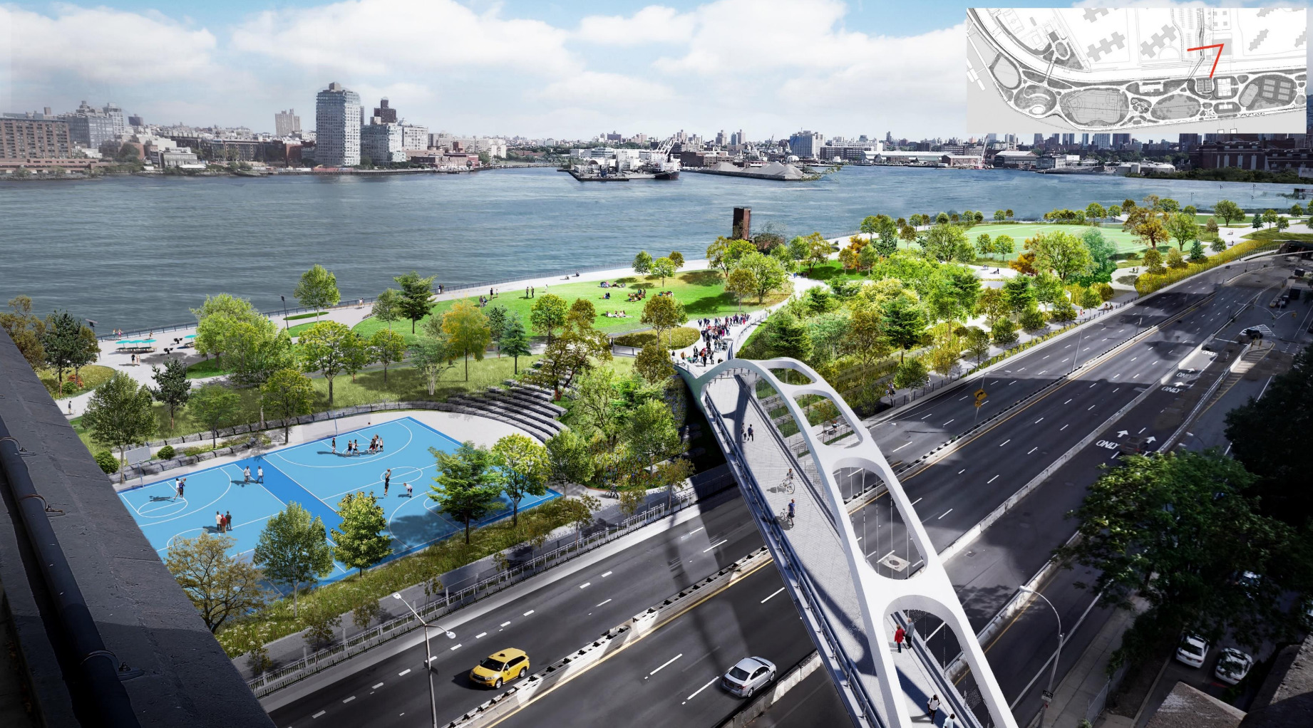 A slide from the city's previous plan showing a rendering of a new Delancey Street Bridge into an improved East River Park.