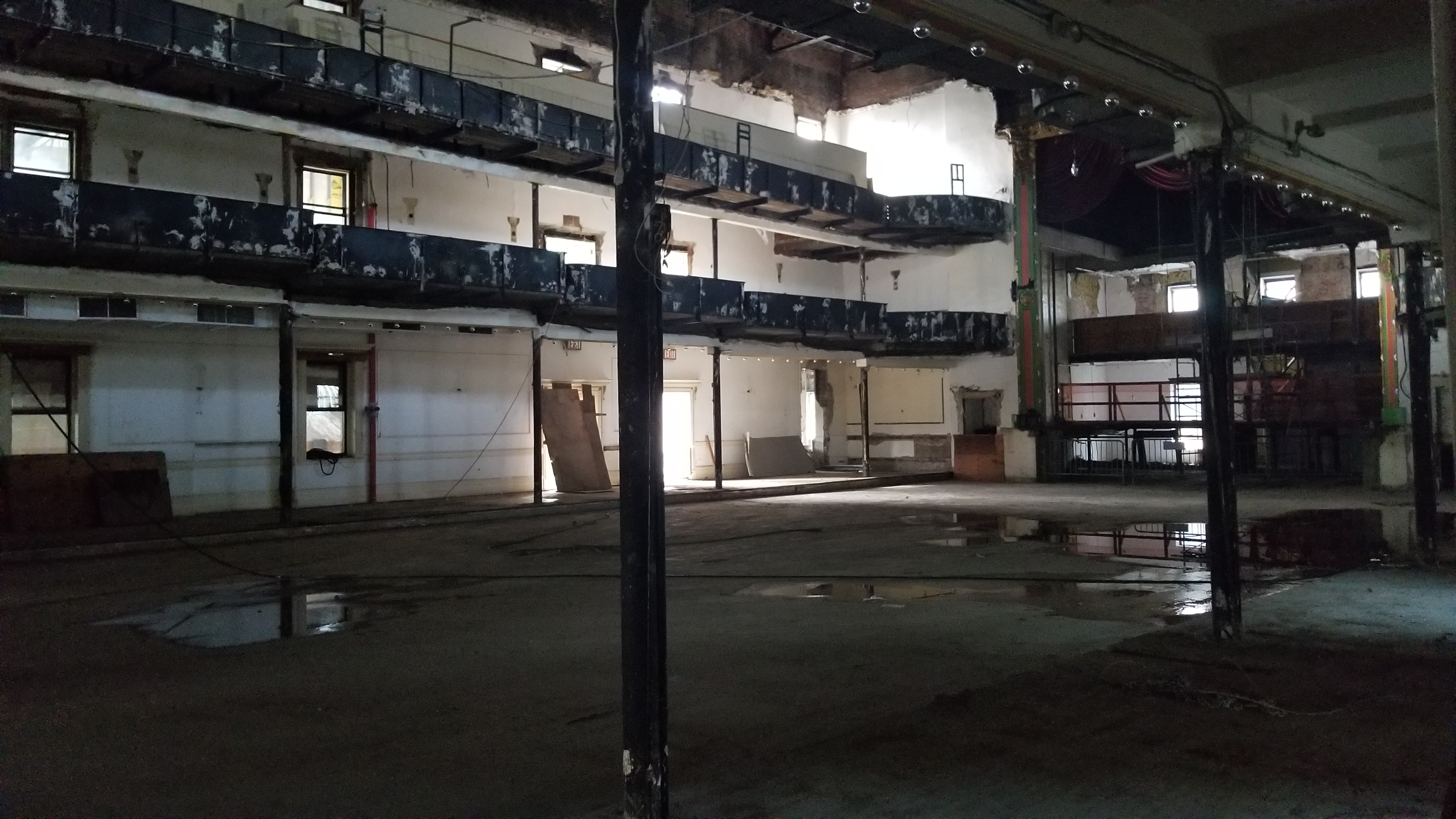 A photo of the interior of Grand Prospect Hall gutted