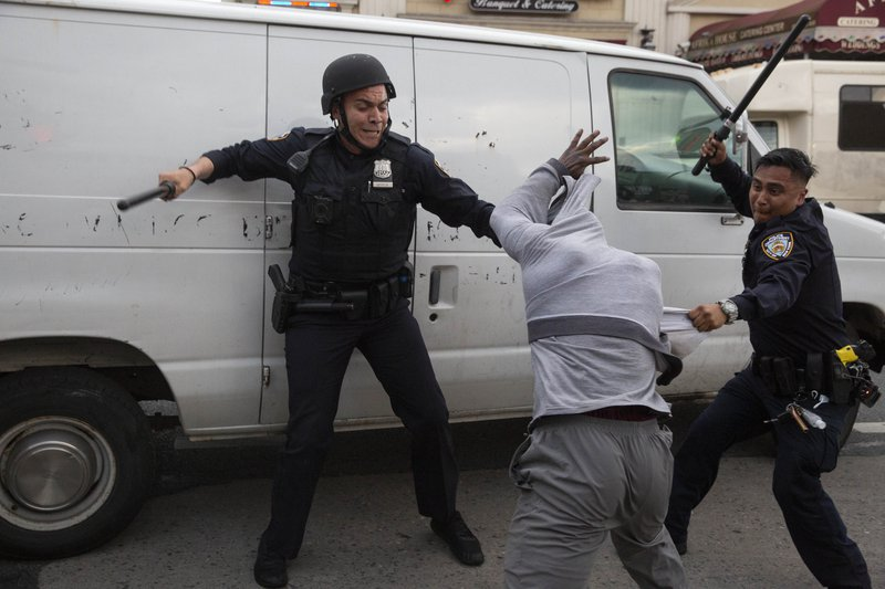 Police clash with protesters in Flatbush, Brooklyn, May 30, 2020