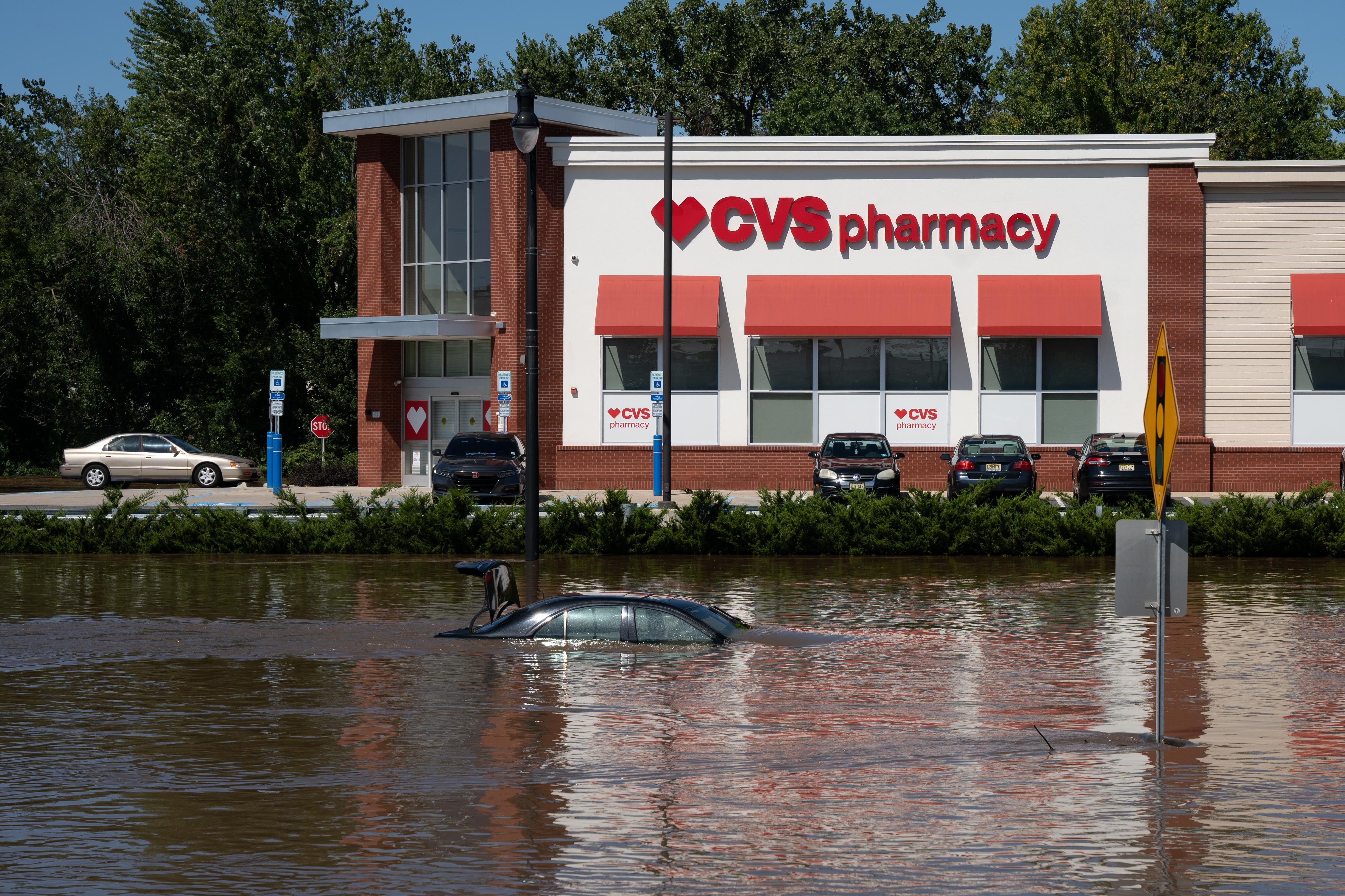 An intersection is flooded by more than 5 feet of water following torrential rains from the remanants of Hurricane Ida in Lodi, N.J., September 2nd, 2021