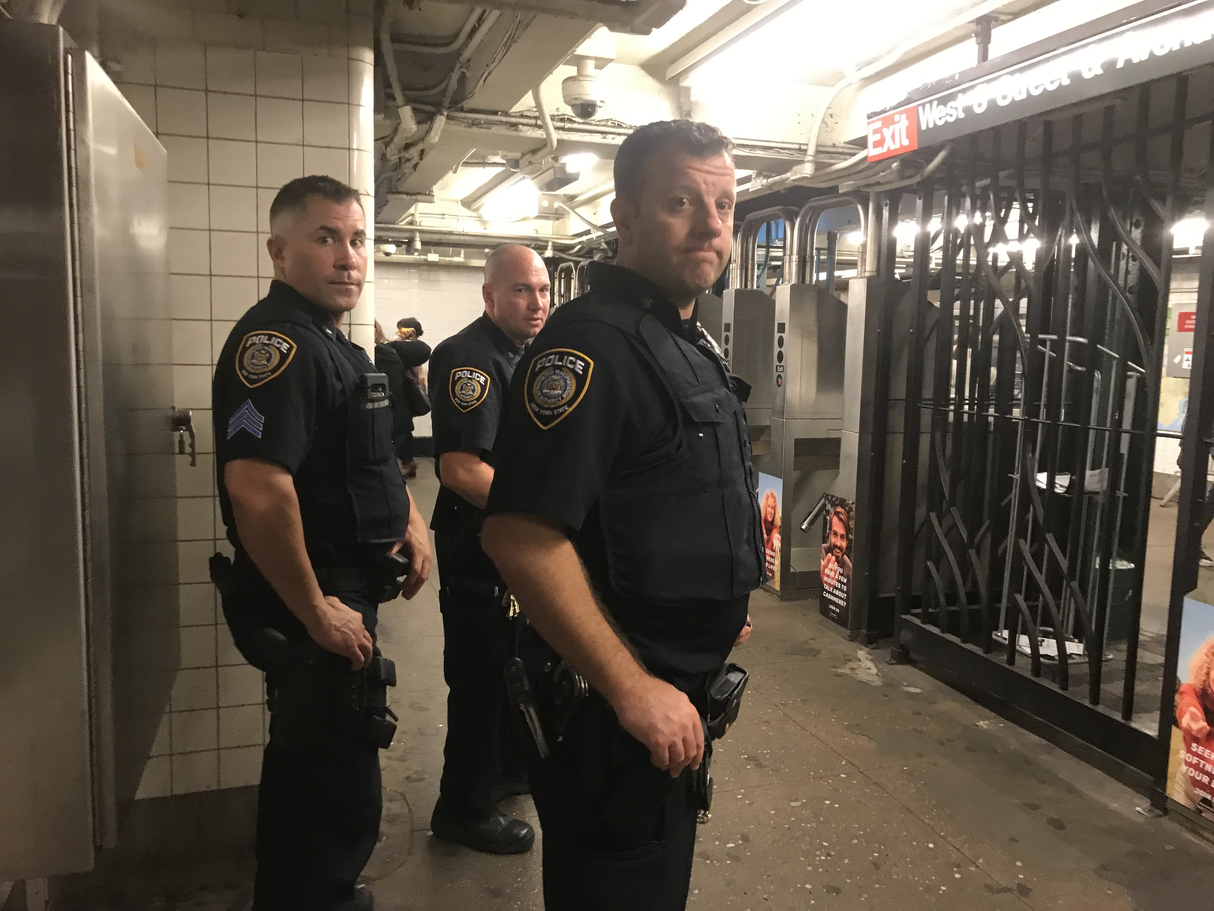 Four MTA police officers seen at the W 4th Street station earlier this month