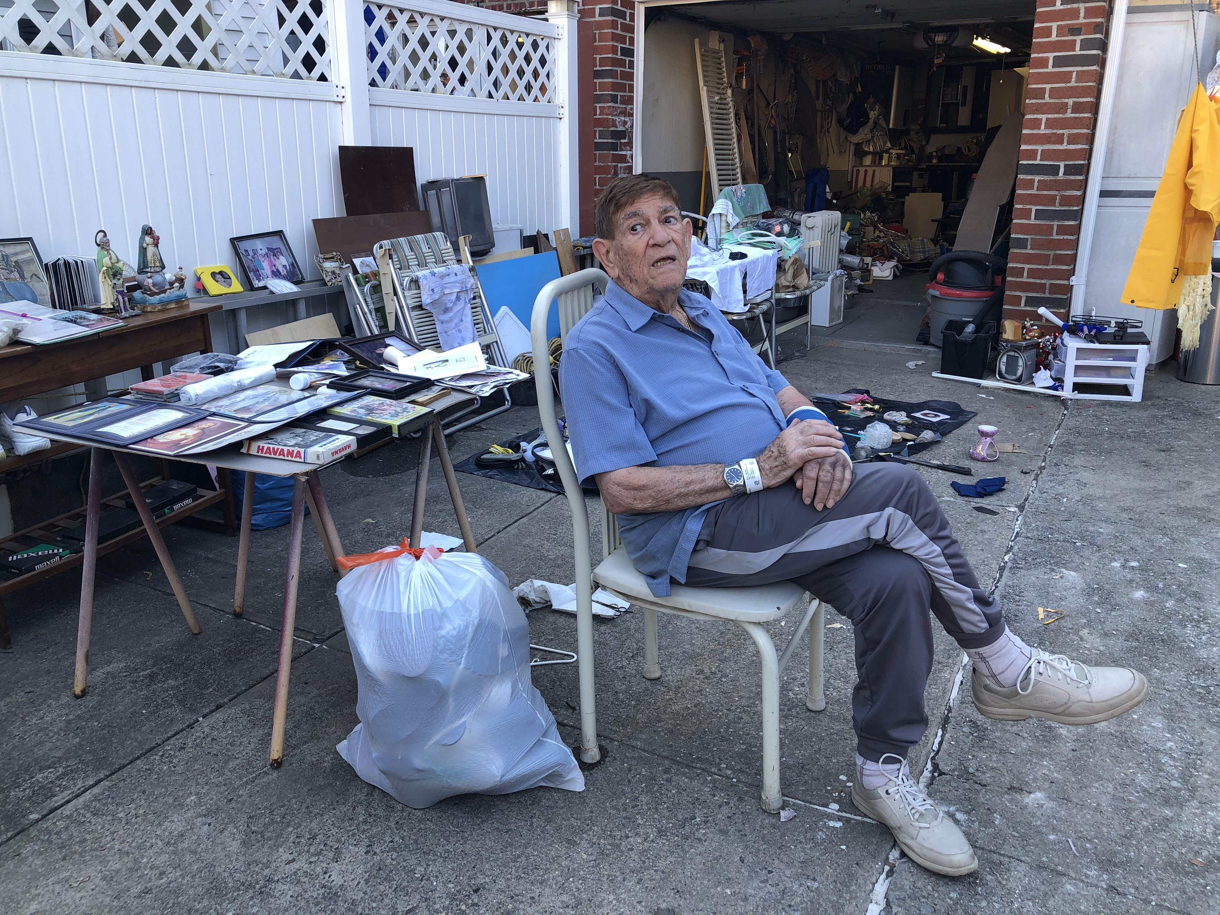Antonio Mayo, 86, broke his wrist when he slipped during flooding Wednesday night.