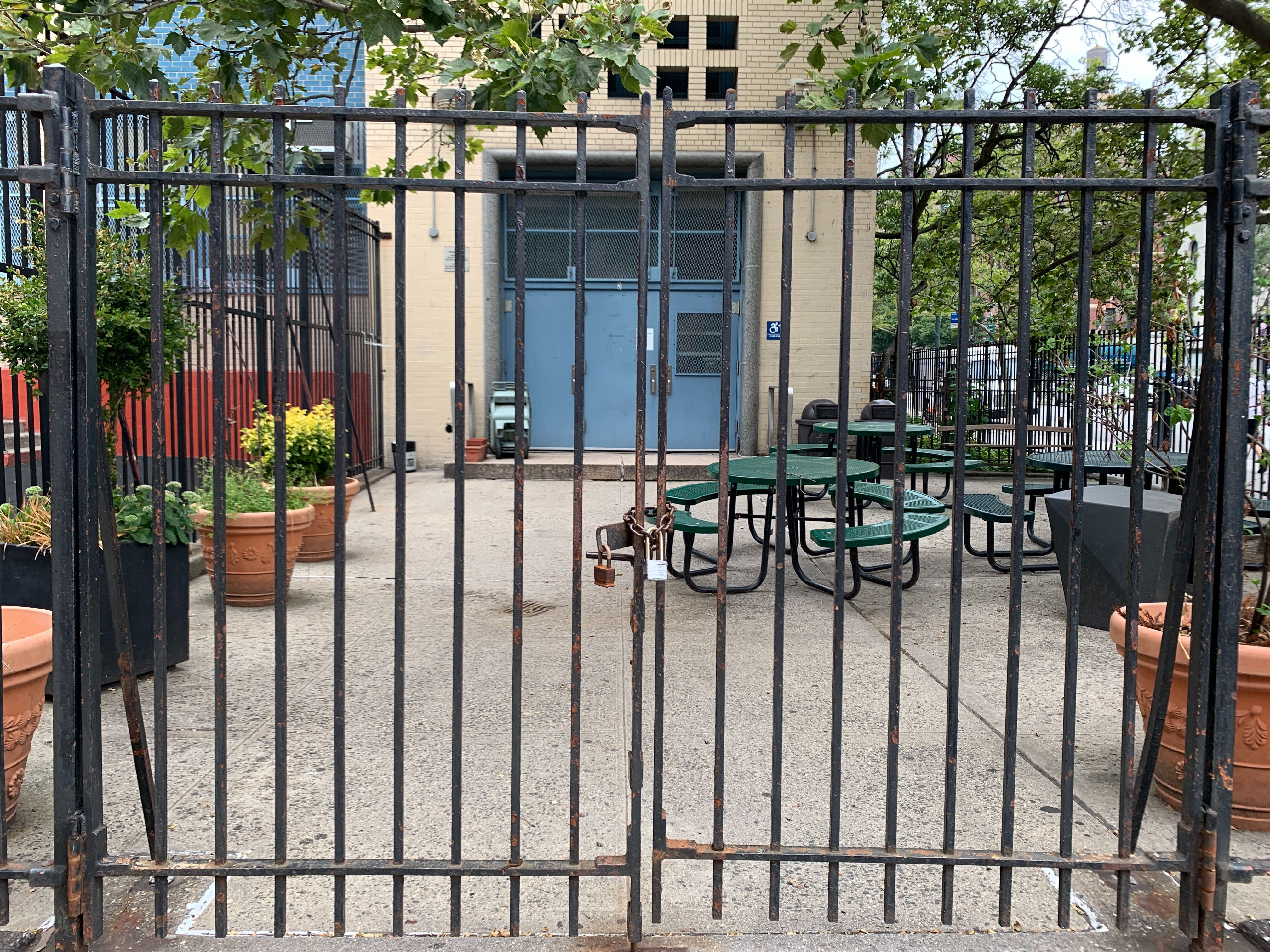 A shot of the locked gates at PS 9 on the Upper West Side.