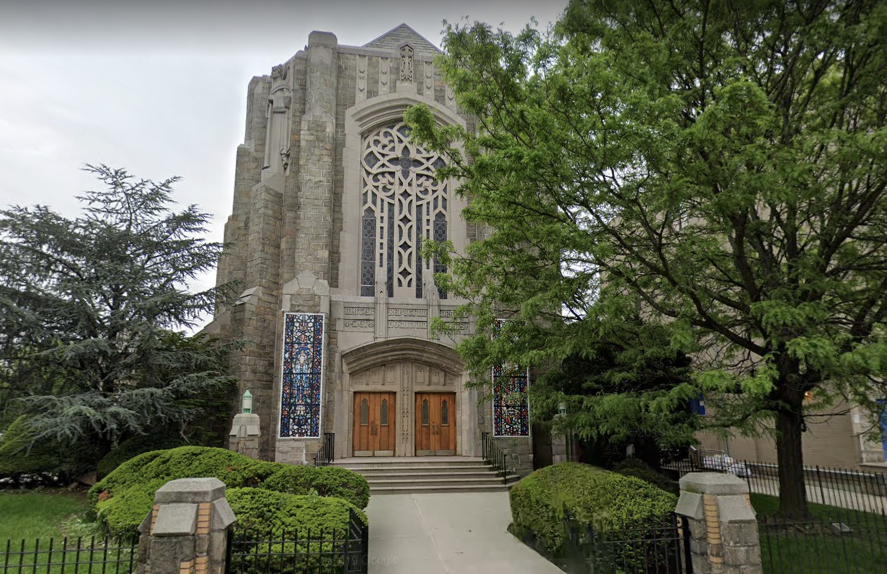 A picture of Our Lady of Refuge Catholic Church in Flatbush, which is in an orange zone and faces limits on number of attendees.