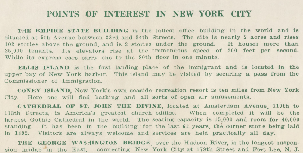 A detail from inside the green book with a list of NYC attractions