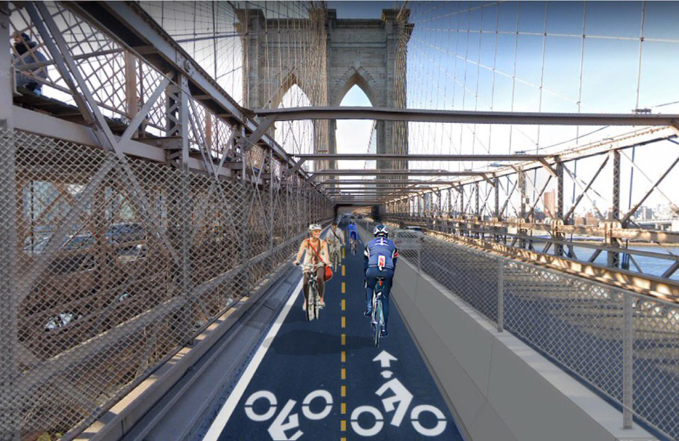 Rendering of the two-lane bike lane on the Brooklyn Bridge, next to vehicles on the Manhattan bound side