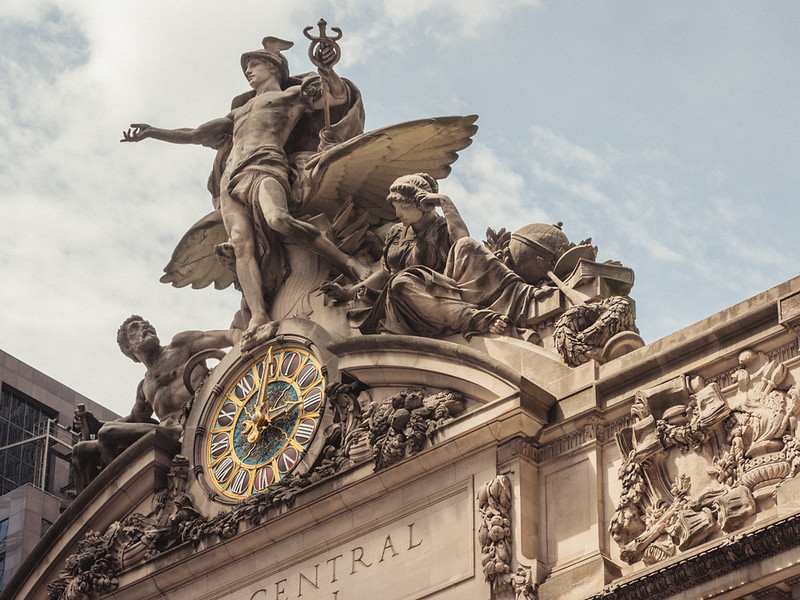 a statue on the exterior of Grand Central