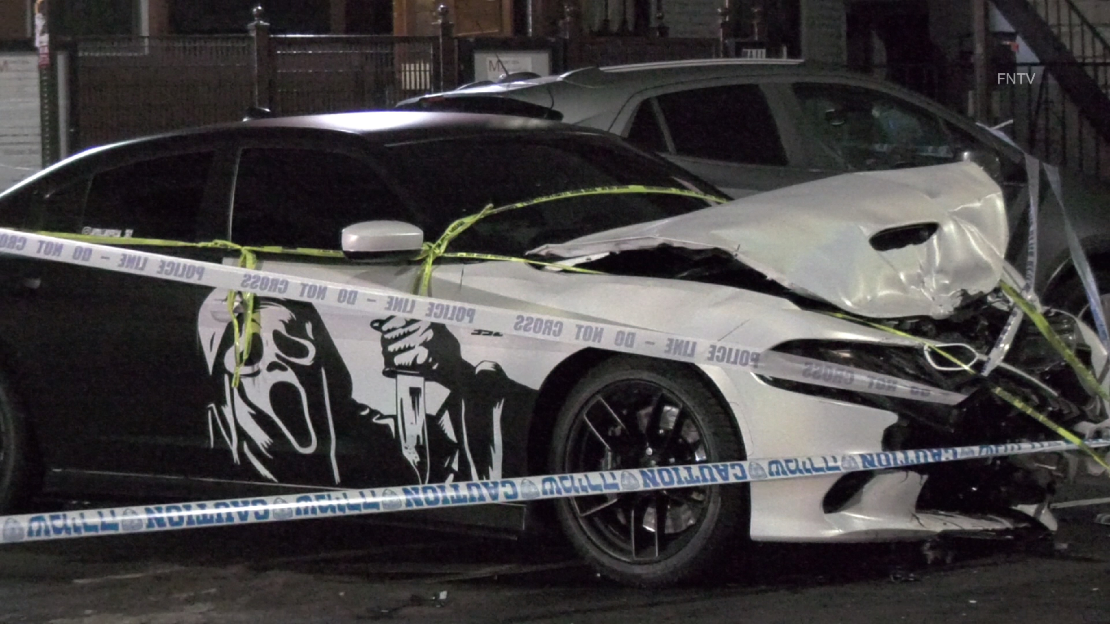 "The Dodge Charger involved in the collision has a vinyl decal of the ""Ghostface"" from Scream"