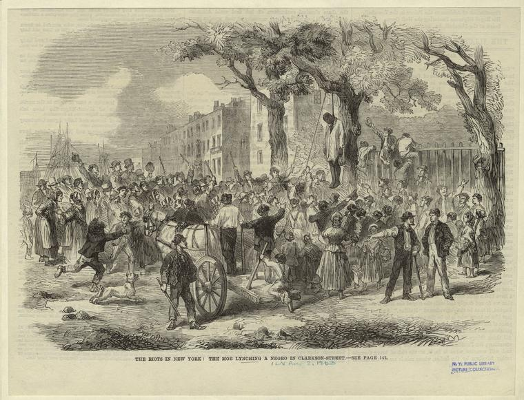 A drawing of a lynching during the riots
