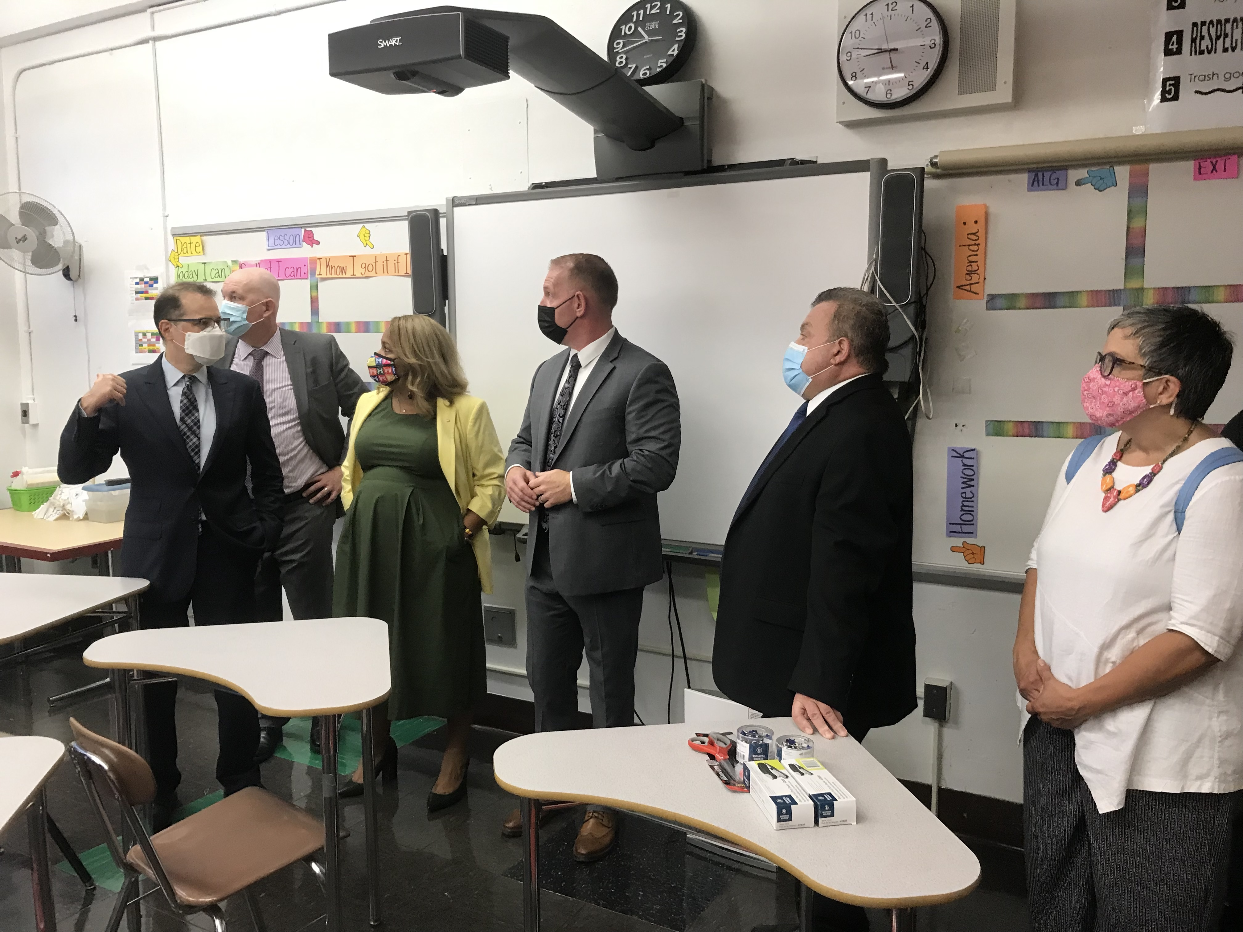 Councilman Mark Levine and NYC Schools Chancellor Meisha Porter get a tour of the safety measures at Murry Bergtraum High School from school facilities officials.