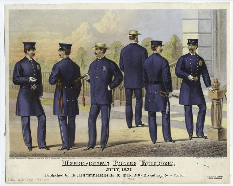 A sketch of 1870s police officers in their blue uniforms