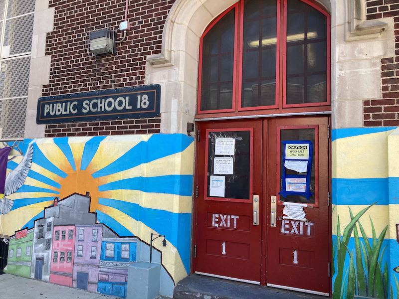 A shot of the closed doors at PS 18 in East Williamsburg