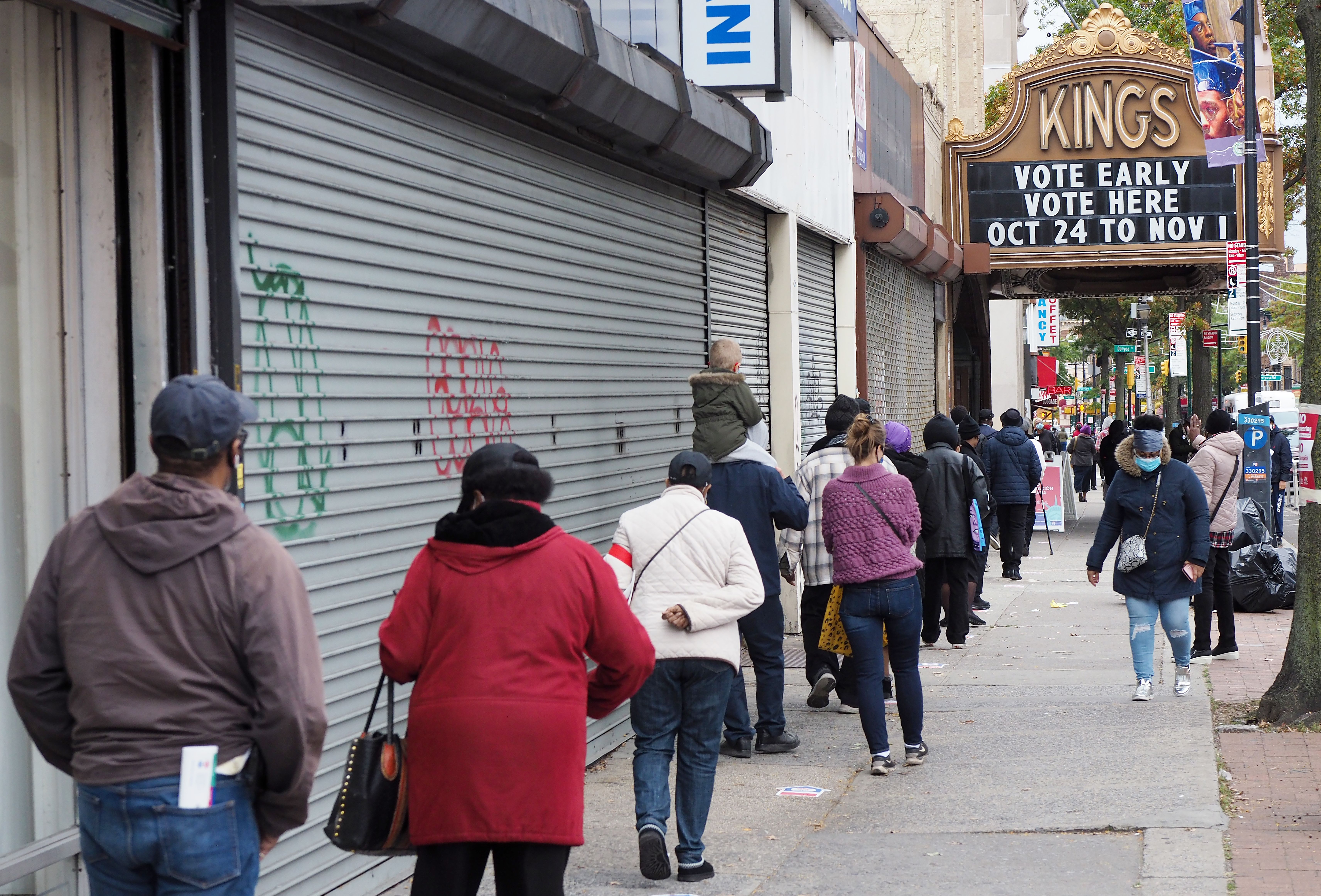 A line of voters outside the Kings Theatre in Brooklyn